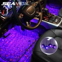 4 In 1 araba LED atmosfer ışıkları renkli RGB iç döşeme ayak ışıkları evrensel otomatik USB dekoratif ortam lambası araba şekillendirici