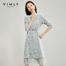 Vimly Women's Dress Elegant Stand Collar Long Sleeve Patchwo