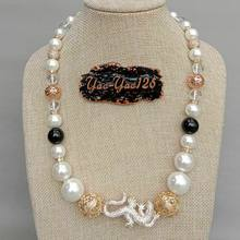 20'' White Sea Shell Pearl Onyx Cz pave Necklace(China)