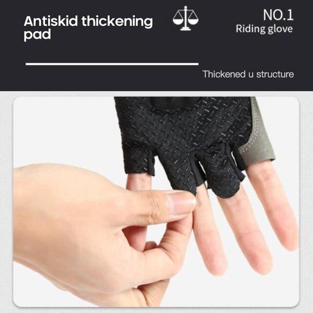 Novo metade do dedo luvas de ciclismo deslizamento suor gel bicicleta equitação choque mtb estrada mountain bike luvas esportivas ciclismo equipamentos 5