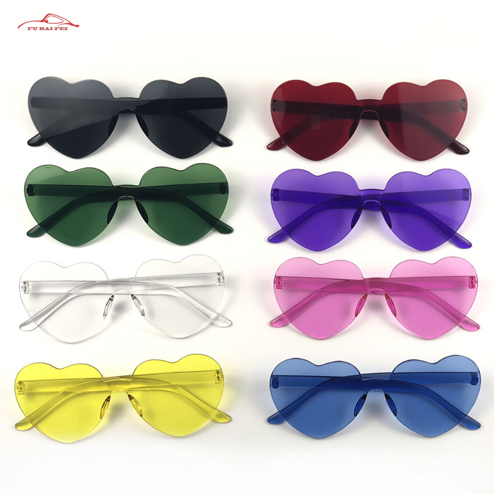 Love Heart Shape Sunglasses Women Rimless Frame Tint Clear Lens Colorful Sun Glasses Female Red Pink Yellow Shades Travel