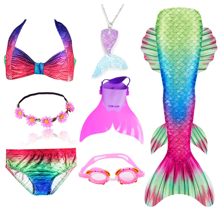 Hc89442e4c1df4cee80cf8f53048ed194h - Kids Swimmable Mermaid Tail for Girls Swimming Bating Suit Mermaid Costume Swimsuit can add Monofin Fin Goggle with Garland