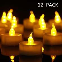 12 шт светодиодные Чайные свечи на батарейках для украшения