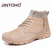JINTOHO męskie buty z prawdziwej skóry modne męskie zimowe buty śniegowce w stylu casual męskie botki męskie skórzane buty męskie obuwie