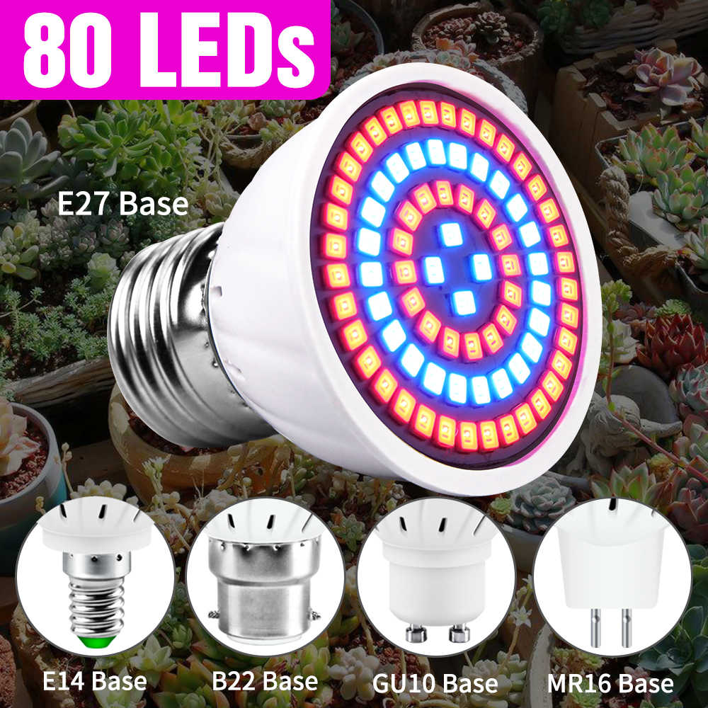 80LED E27 Volledige Spectrum Led Grow Light E14 Bloem Zaailing Hydrocultuur Lamp GU10 Plant Lamp Led Verlichting MR16 Phyto Lamp 220V