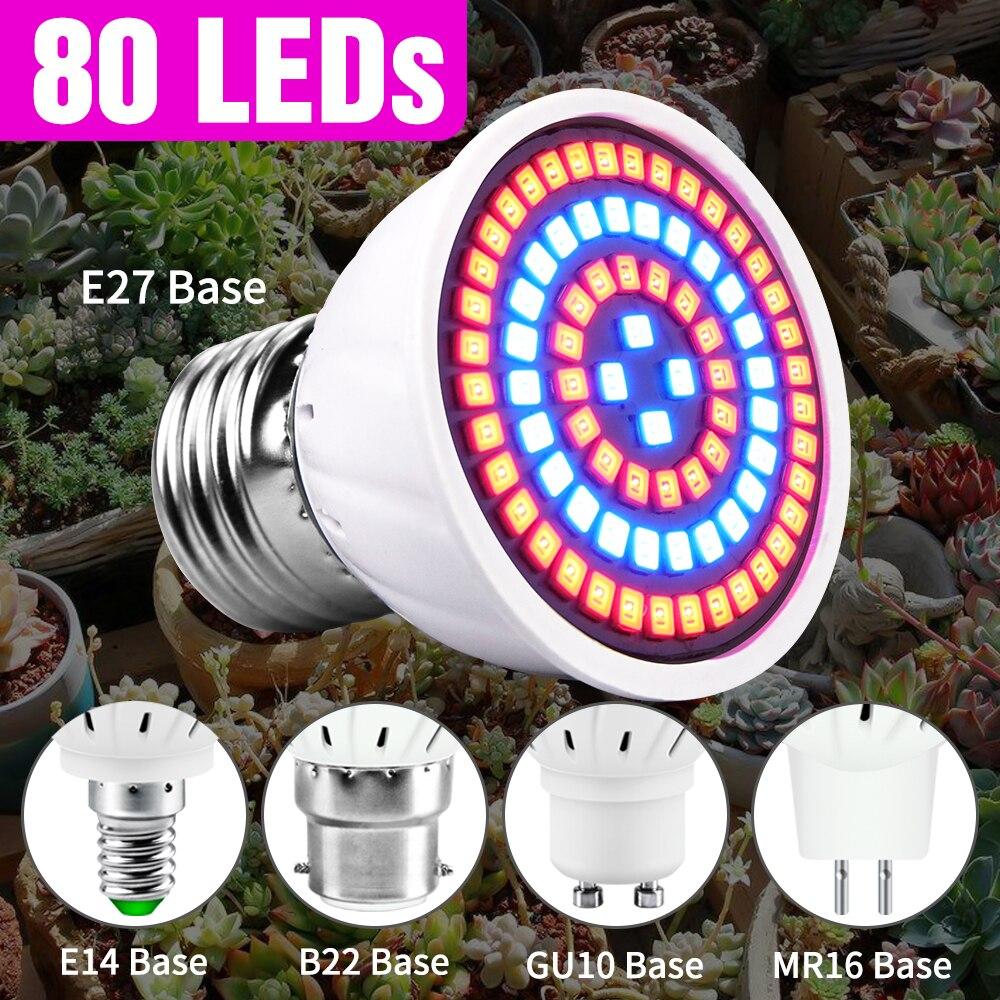 120.08руб. 37% СКИДКА|80 светодиодный E27 полный спектр светодиодный Grow светильник E14 цветок рассады Гидропоника лампы GU10 лампа в форме растения светодиодный светильник ing MR16 Фито Лампа 220V|Промышленные LED-лампы| |  - AliExpress