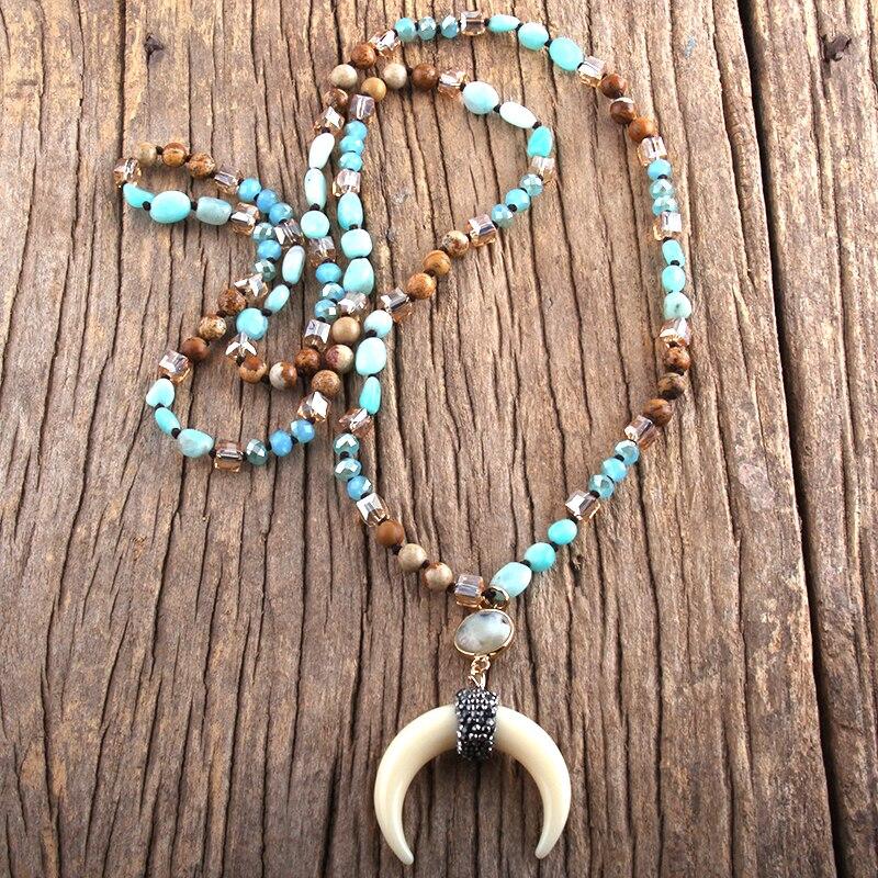 RH – collier bohème en pierres naturelles/cristal de verre, bijoux de forme aléatoire, multi-pierres nouées, corne de bœuf, lune, cadeau pour femmes