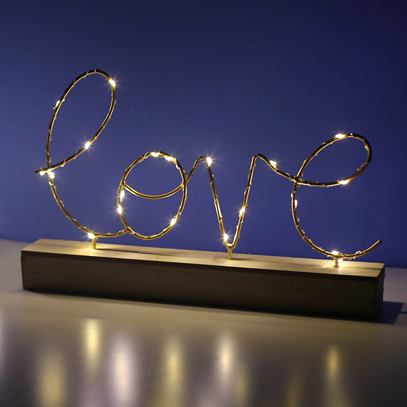 Home Decor Figurines Ornaments LED Lamp Light LOVE Letters Living Room Bedroom Layout Decoration Valentine's Birthday Gift
