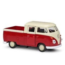 цена на Welly 1:36 Original box VW T1 Van Double Cabin Pickup Red Pull Back Car Diecast Car Model Toy Vehicle Car Model Models Kids Car