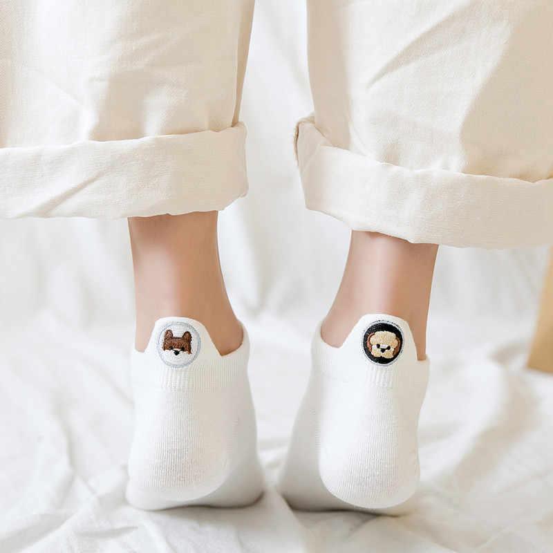 Kawaii haftowane animal Expression kobiety skarpetki Happy Fashion kostki śmieszne skarpetki damskie bawełniane lato 3 pary cukierki kolor