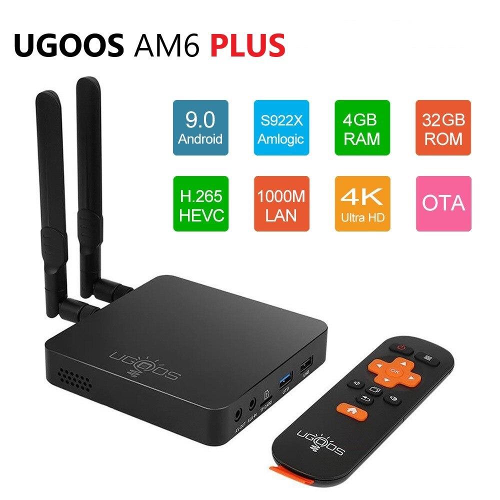 UGOOS AM6 Plus Amlogic Smart Android 9.0 TV Box DDR4 4GB RAM 32GB ROM 2.4G 5G WiFi 1000M LAN Bluetooth 4K Prefix HD Media Player