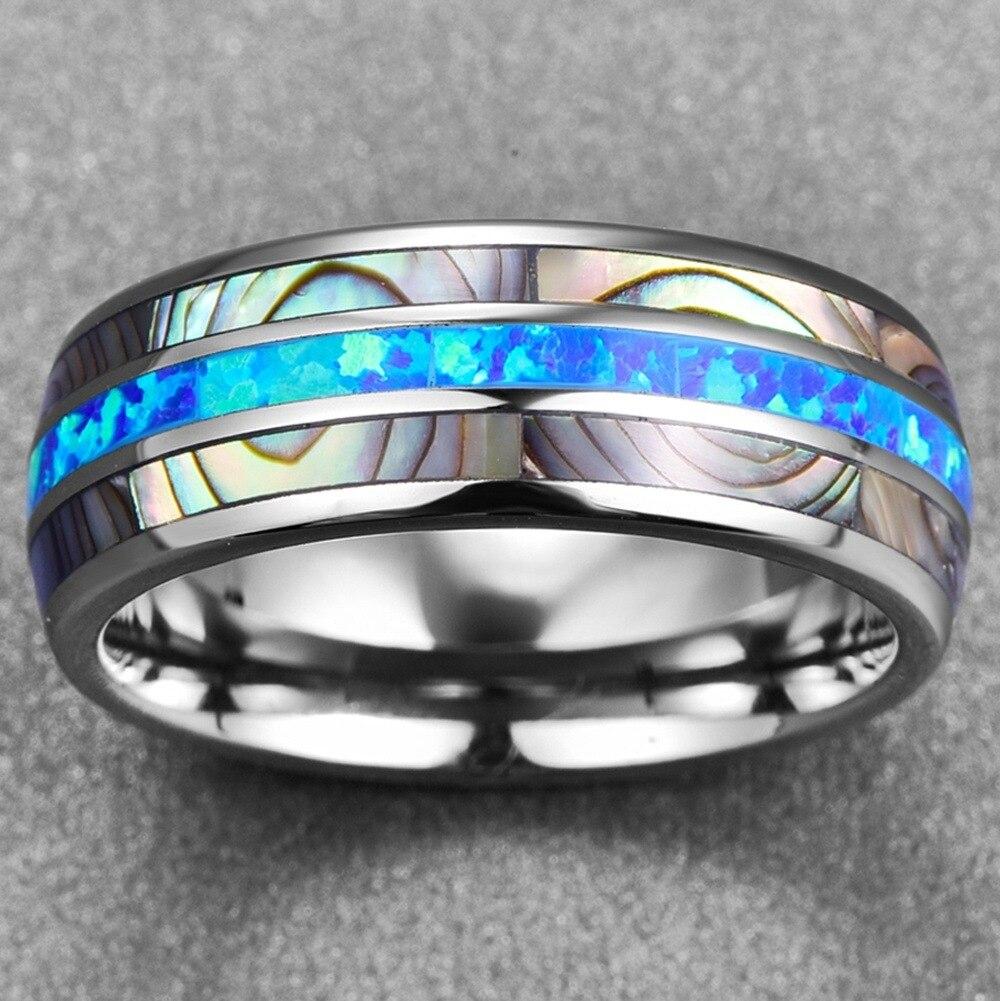 Модные ювелирные изделия простая синяя ракушка 316L из нержавеющей стали мужское кольцо из титана панк Рок отец ювелирные изделия подарок Размер 6 8 9 10 11 12 13