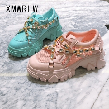 XMWRLW 2020 Spring Summer Breathable Mesh Women Chunky Sneakers Fashion Rhinestone Woman Candy Color Shoes Female Chunky Sneaker