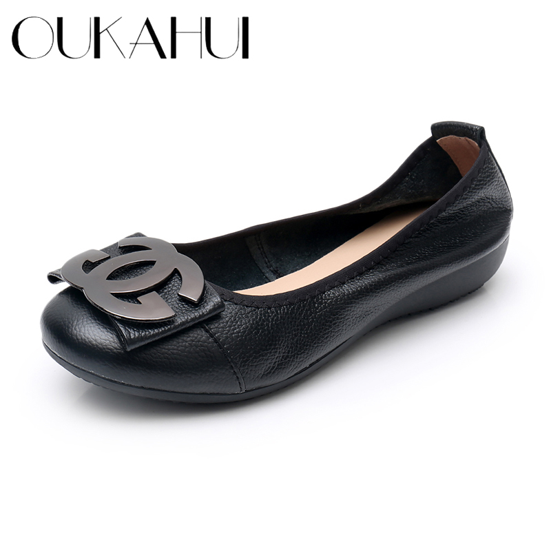 OUKAHUI Size 34 43 Genuine Leather Shallow Round Toe Ballet Flats Elegant Shoes Women Metal Round Buckle Soft Ladies Flat Shoes|Women's Flats| - AliExpress