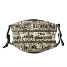 Viking Mouth Face Mask Bayeux Tapestry Facial Mask for Adult Lovely Polyester with Filters Mask
