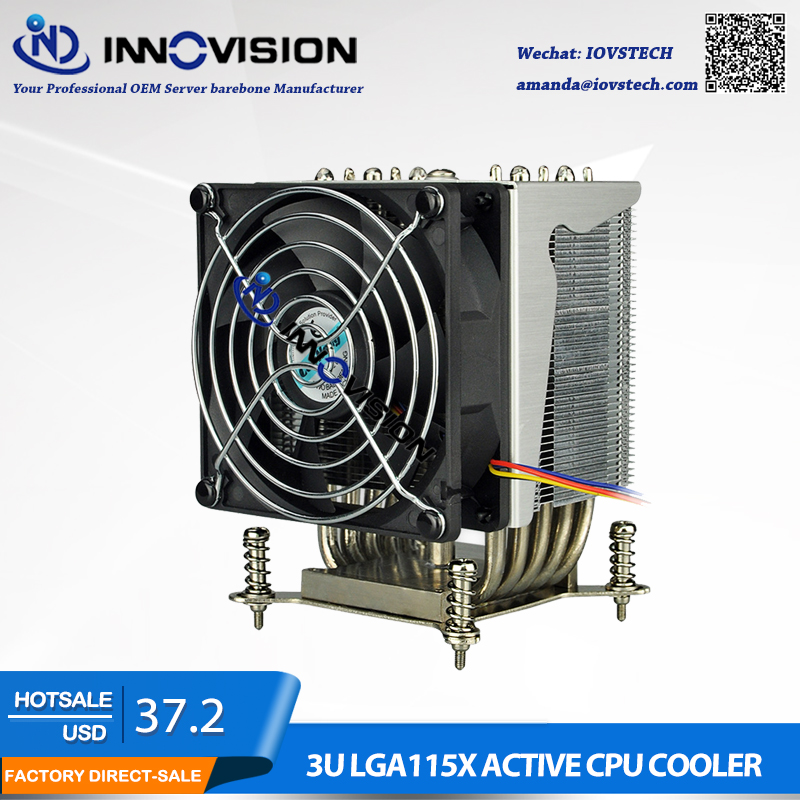 LGA1150 LGA1151 LGA1155 <font><b>1156</b></font> 75x75MM CPU Heatsink ,3U CPU <font><b>Cooler</b></font> with 5 hotpipe,2U/3U/4U/5U Sever CPU <font><b>Cooler</b></font> image