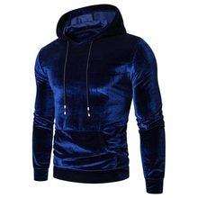 Nova moda masculina com cordão no outono inverno hoodies 2021 quente puro ouro veludo blusa com capuz rendas até harajuku topos