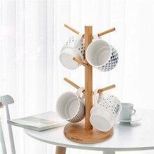 Креативный бамбуковый держатель для хранения чашек дерево форма дерево кофе чай чашка держатель для хранения стенд Висячие на кружке дисплей стеллаж
