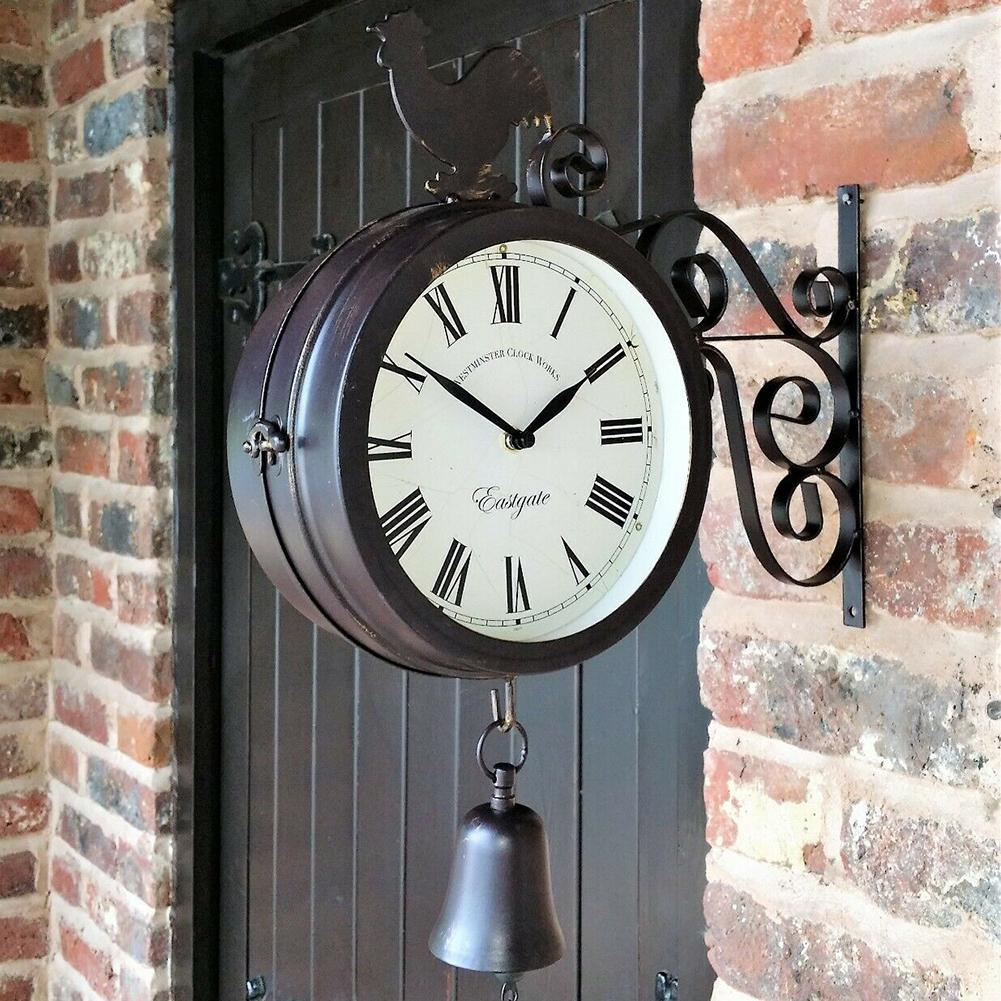 Retro Garden Clock Outdoor Wrought Iron Fashion Double-Sided Metal Wall Hanging Clock Station Clock Cock Bell Shape Home Decor