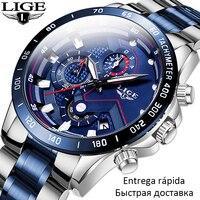 2020 nowych moda mężczyzna zegarka LIGE Top marka analogowy zegar ze stali nierdzewnej wodoodporny Luminous sport Watch mężczyźni zegarki biznesowe