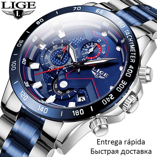 $ US $16.79 2020 New Fashion Men Watch LIGE Top Brand Analogue Clock Stainless Steel Waterproof Luminous Sports Watch Men Business watches