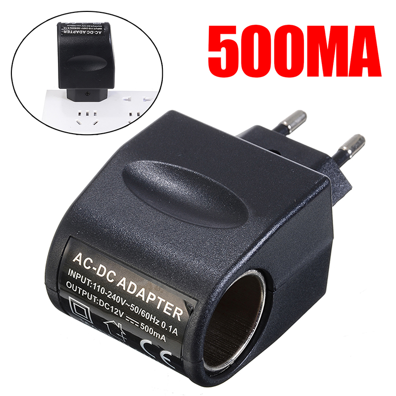 EU Plug Black Adapter <font><b>Converter</b></font> <font><b>Car</b></font> <font><b>Cigarette</b></font> <font><b>Lighter</b></font> <font><b>220V</b></font> AC Socket <font><b>To</b></font> <font><b>12V</b></font> DC Household Charger <font><b>Converter</b></font> Adapter image