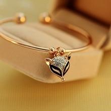 цена на Women Lady Female Gold Color Animal Fox Charm Bracelet, Crystal Rhinestone Bangle, Fox Charm Bracelet