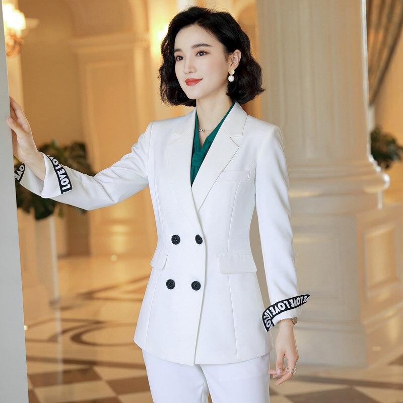 Female Elegant Business Uniform 2 Piece Set Pant Suits For Ladies Women's Business Office Work Wear Blazers Trouser Sets Jacket