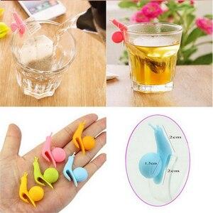 6 pçs colorido silicone pequeno caracol recognitor dispositivo chá infusor copo saco de chá pendurado clipe rótulo cozinhar ferramentas cor aleatória