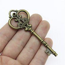 WYSIWYG 1 sztuk 84mm rocznika duży kluczowe wisiorki urok do tworzenia biżuterii antyczny brąz kolor duży klucz urok wisiorek klucz Retro