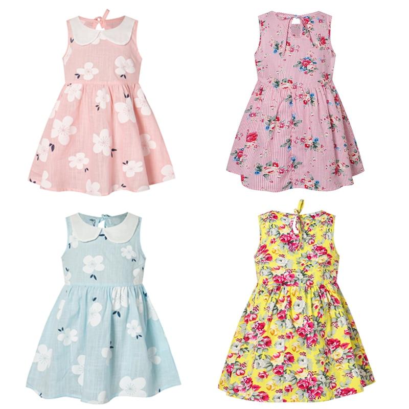Girls Summer Dress Cute Flower Print Sleeveless Soft Dresses Children Fashion Princess Costume Girl Clothes Party Cheap Stuff
