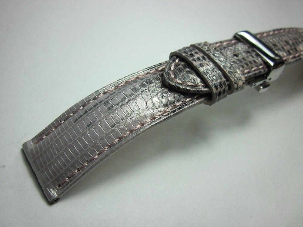 genuíno lagarto pele relógio banda borboleta fivela pulseira artesanal cinta