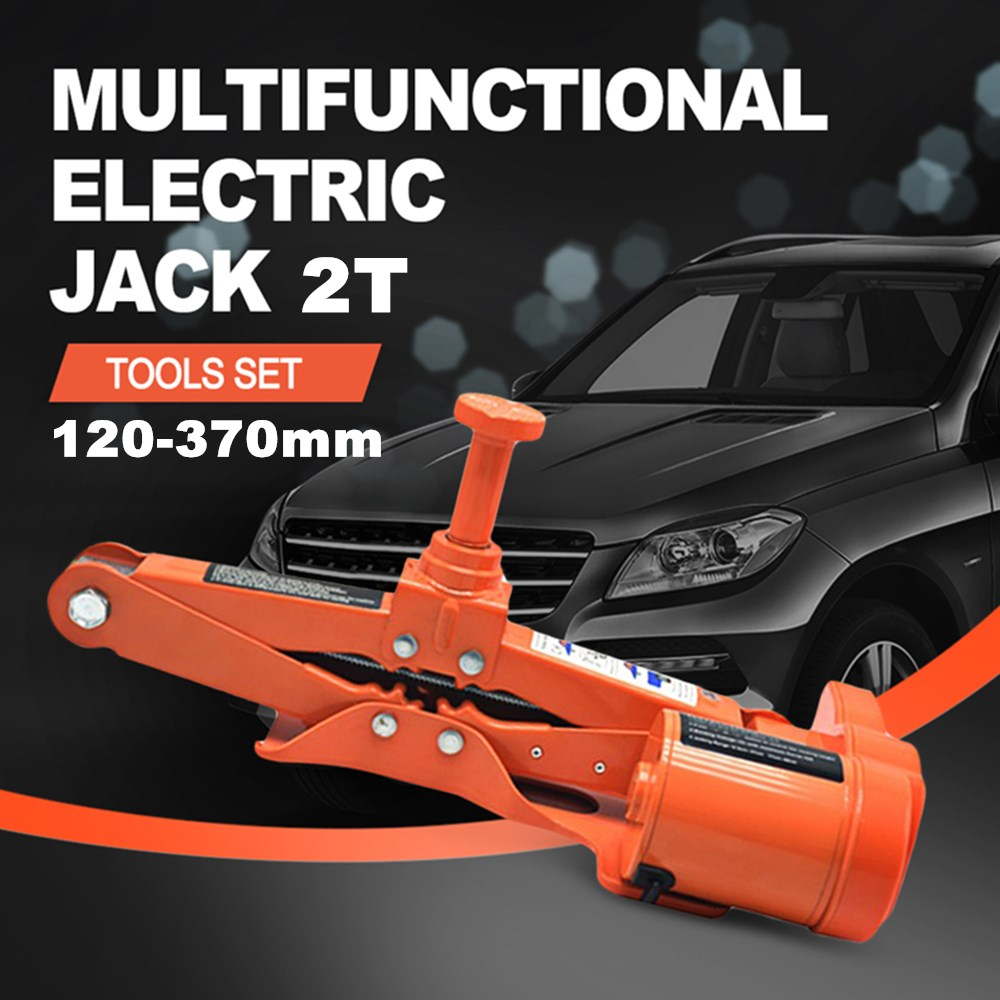 DC 12V 100W voiture électrique Jack voiture ascenseur outils Set 2 tonnes charge maximale-portant pour l'entretien du véhicule plage de levage 120-370mm