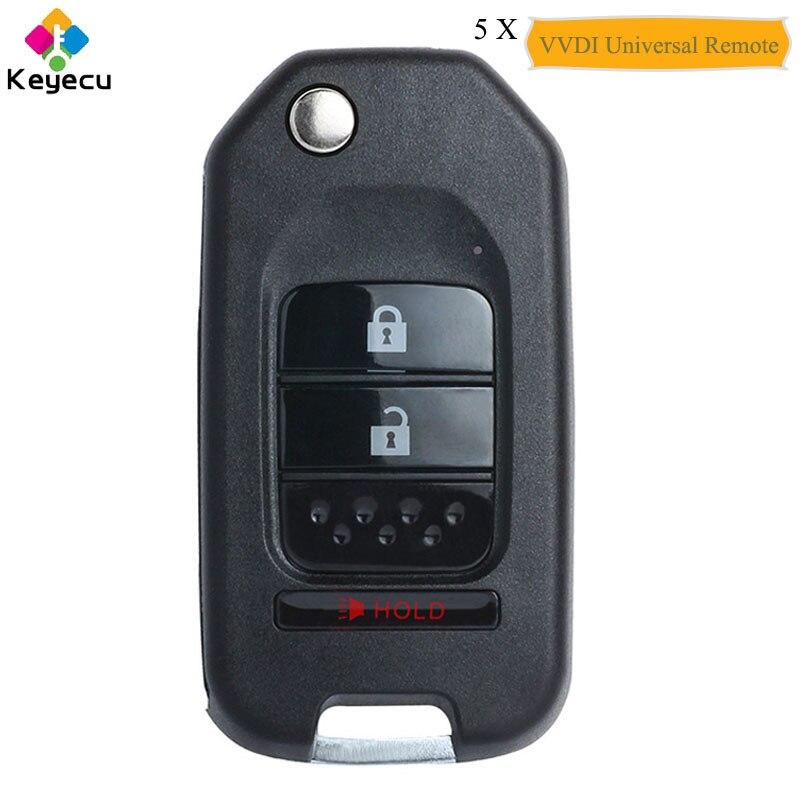 KEYECU 5 шт. Xhorse английская версия для универсального дистанционного ключа типа Honda с 3 кнопками-для VVDI Key Tool VVDI2, P/N: xjo02en