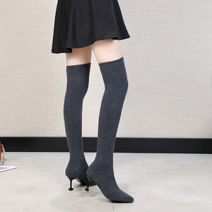 Image 4 - Sexy Vrouwen Over De Knie Laarzen Sok Warm Hoge Hak Schoenen Stretch Breien Dunne Hak Fashion 2019 Winter Vrouwen Wees teen Laarzen