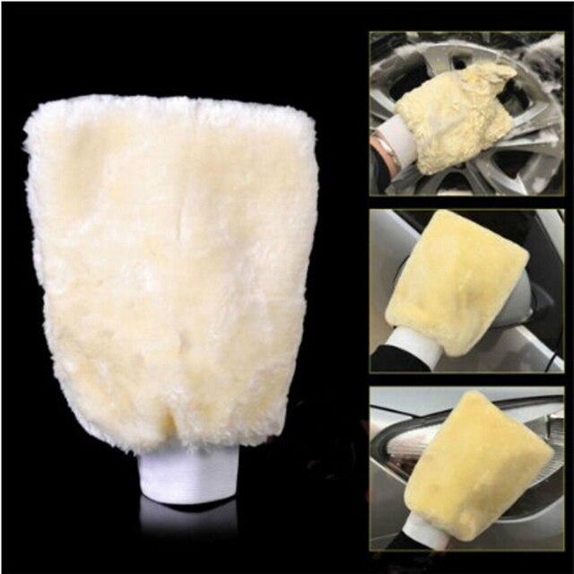 Prawdziwa skóra owcza Mitt Car miękka rękawica do polerowania Lambswool mycie czyszczenie polski czyszczenie samochodu mycie