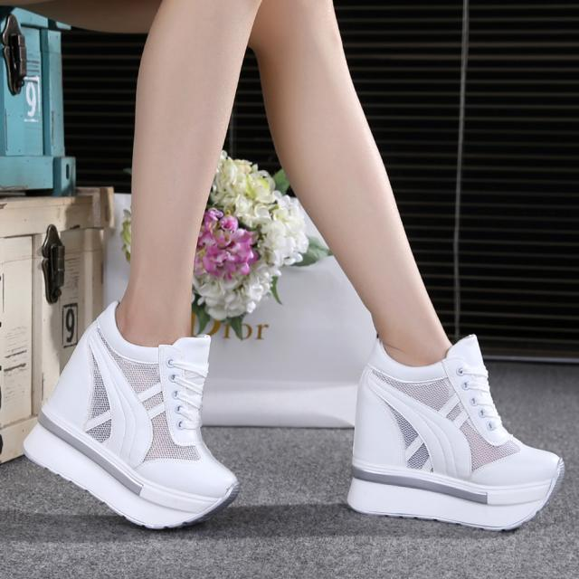 New Breathable Mesh Shoes Muffin With Thick Bottoms Increased Single Shoes Super High Heel Casual Shoes