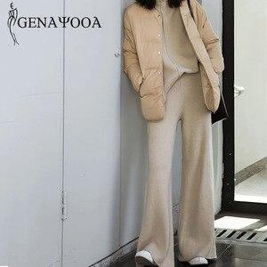 Image 3 - Genayooa Two Piece Set Pullover Sweater Tracksuit Women High Waist Knit Wide Leg Pants Women Suit 2 Piece Set Women Winter 2020