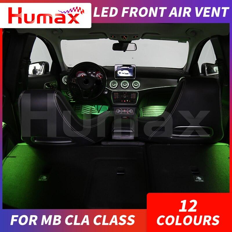 Led turbina ar ventilação ar do carro ar condicionado ventilação decoração lâmpada de luz ambiente para mercedes cla classe w117 sincronizado com luz - 2