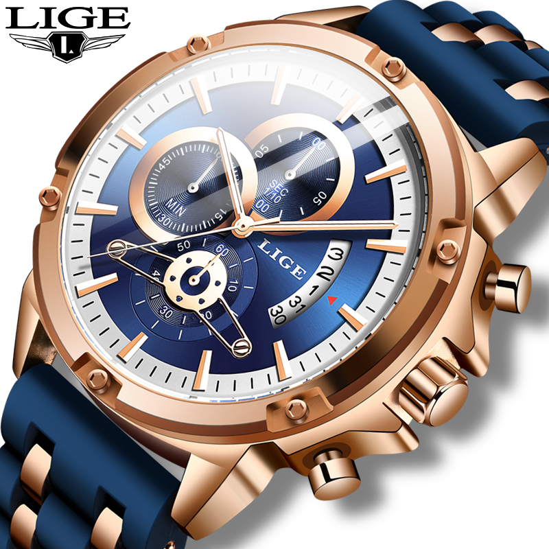 Relogio Masculino 2020 LIGE Fashion Mens Watches Top Brand Luxury Unique Silicone Waterproof Wrist Watch Men Sport Quartz Clock