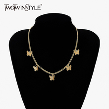 TWOTWINSTYLE Alloy Gold Butterfly Necklace For Women Fashion New Accessories 2021 Beautiful Necklace Female cheap Business CN(Origin) Four Seasons Decorate Adult TXL28821 Scarf Animal 60cm