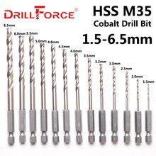 13 pces 1.5-6.5mm m35 cobalto broca bit hssco torção broca conjunto 1/4