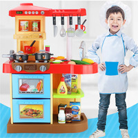 Child Funny Classic Pretend Play kitchen toys imitate chef light Kitchen Sets COOK FUN game girl gift girls toys miniature food