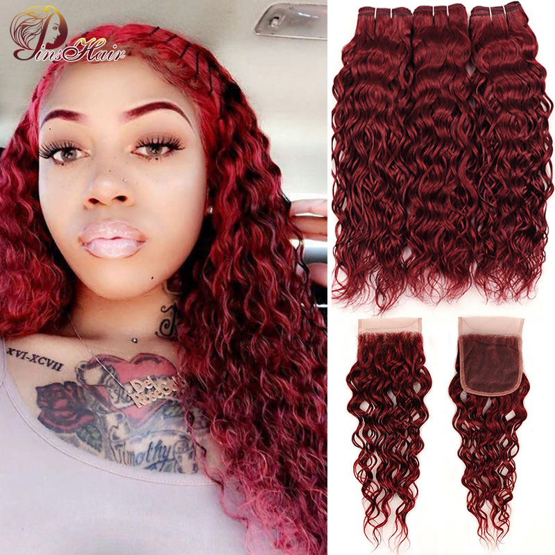 99J Bold Red Water Wave Bundles With Closure Remy Hair Colored Burgundy Brazilian Human Hair 3 Bundles With Closure Pinshair
