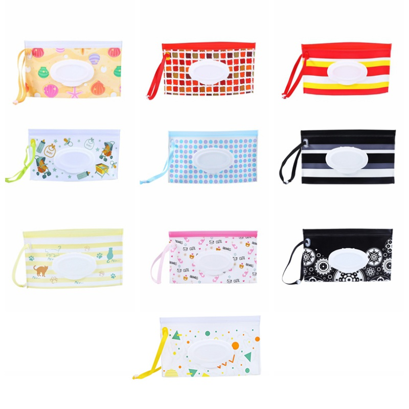 Baby Wipes Container Eco-friendly Wet Wipe Pouch Dispenser EVA Case Travel Clutch Pouch Holder Refillable Portable