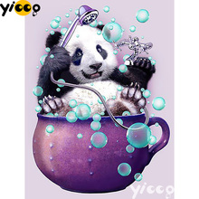 Full Square/Round drill diamond Painting Panda bathing 5D DIY diamond embroidery mosaic Decoration painting AX0110 full square round drill diamond painting loyal bulldog 5d diy diamond embroidery mosaic decoration painting ax0110