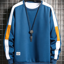 Sweatshirts Men Long-Sleeve Harajuku Patchwork New-Fashion 6-Color O-Neck for Young Casual