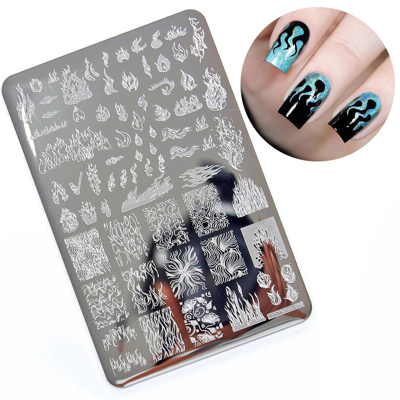 1PCS Big Size Nail Stamping Plates Template Flame Pattern Nail Art Stamp Stamping Image Plate Manicure Stencil Nails Tool