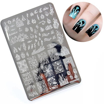 1PCS Big Size Nail Stamping Plates Template Flame Pattern Nail Art Stamp Stamping Image Plate Manicure Stencil Nails Tool geometry flower nail stamping template negative space puzzle figure stamp nail manicure nail stamping plate