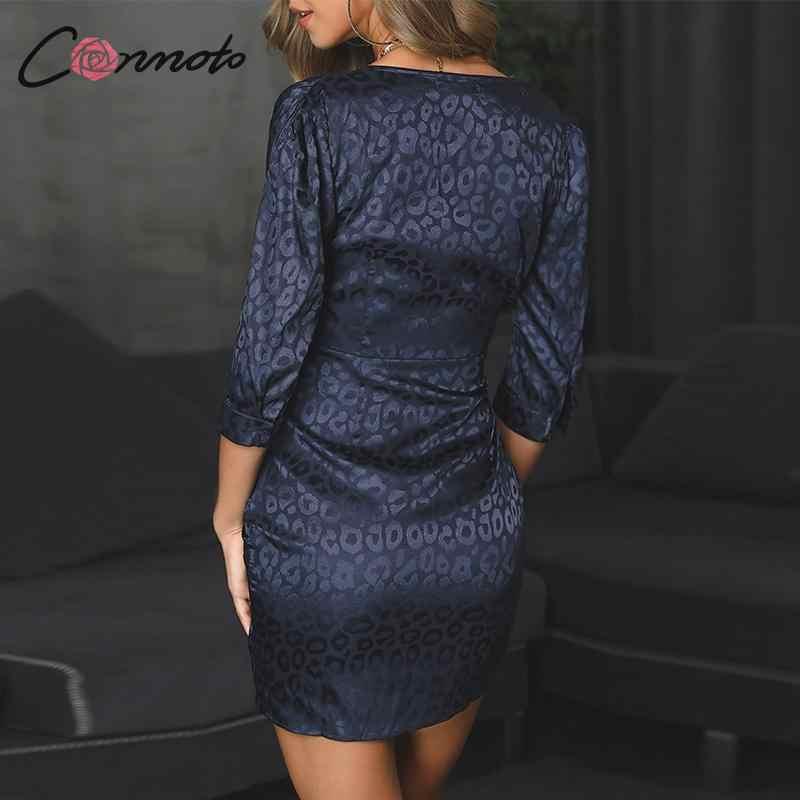Conmoto женское леопардовое платье-комбинация с вышивкой, сексуальные короткие вечерние платья с v-образным вырезом, Женское зимнее платье 2019, плиссированное платье с рукавом миди размера плюс
